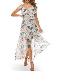 floral cold shoulder flounce tulip dress