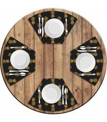 jogo americano   para mesa redonda wevans abacaxis kit com 4 pã§s  love decor - multicolorido - dafiti