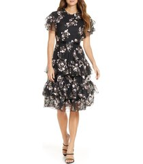 women's rachel parcell embroidered tiered mesh dress, size x-small - black (nordstrom exclusive)