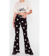 womens sky full of stars high-waisted flare pants - black