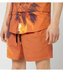 matthew miller men's kohner shorts - burning print - w30/s - red