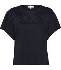 bibi relaxed round-nk top ss t-shirts & tops short-sleeved blauw tommy hilfiger