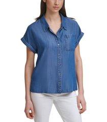 calvin klein cuffed-sleeve shirt