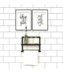 porta condimentos suporte toalha preto lilies móveis