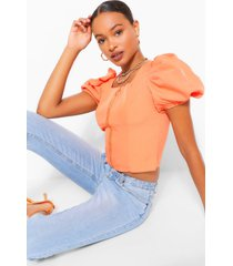 zip front puff sleeve top, orange