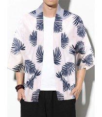 chaqueta de punto con protección solar tropical con estampado total informal para hombre