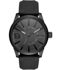 diesel men's black silicone strap watch 46x53mm dz1807