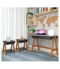 escrivaninha cavalete e conjunto mesa lateral amêndoa preto casah