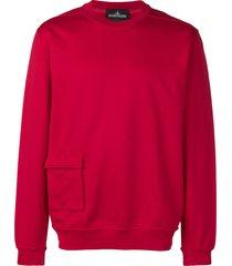 stone island shadow project cargo-pocket sweatshirt - red