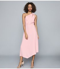 reiss delilah - one shoulder midi dress in pink, womens, size 14