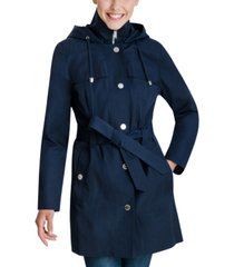 london fog hooded bibbed belted water-resistant raincoat
