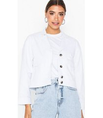 selected femme slfcarry cropped denim white jacket jeansjackor