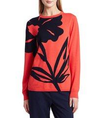 st. john women's floral intarsia wool sweater - apple navy - size xs