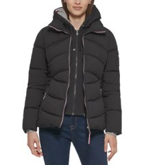 tommy hilfiger knit hoodie puffer coat