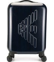 emporio armani raised logo suitcase - blue