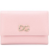 dolce & gabbana crystal embellished continental wallet - pink