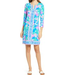 women's lilly pulitzer nadine floral upf 50+ shift dress, size xx-large - blue/green
