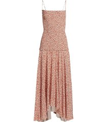 micro floral smocked dress white and rust