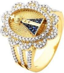 anel amada nossa senhora cravejada em detalhes banhado a ouro 18k
