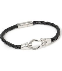 mens black leather bracelet*