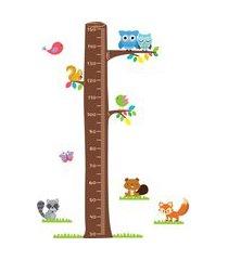 adesivo de parede quartinhos régua árvore corujas e pássaros colorido