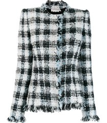 alexander mcqueen bouclé fitted jacket - white
