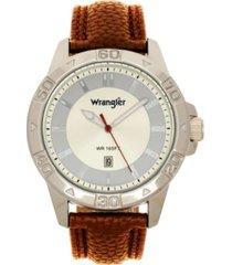 wrangler men's watch, 46mm silver colored case with embossed arabic numerals on bezel, ivory sunray dial, silver index markers, analog, brown strap