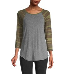 alternative women's eco jersey raglan-sleeve top - eco grey camo - size l