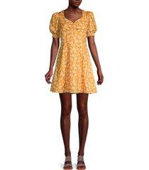 avantlook women's floral puff-sleeve dress - yellow - size l