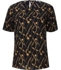 blusa cadenas m/c color negro, talla 16