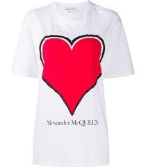 alexander mcqueen heart logo loose t-shirt - white