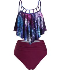 cutout scale print ruched mermaid tankini set