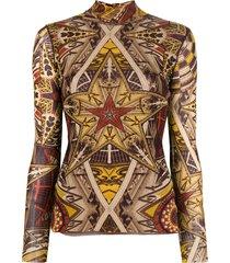 jean paul gaultier pre-owned star print turtleneck top - brown