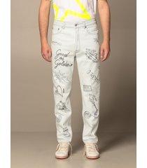 golden goose jeans golden goose jeans in denim with all-over lettering