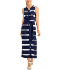 charter club petite striped tie-waist dress, created for macy's