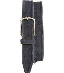 men's johnston & murphy perforated suede belt, size 38 - navy