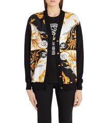 women's versace barocco acanthus print silk front cardigan, size 4 us - black