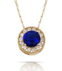 1.90ct created diamond & sapphire round halo charm pendant 14k y gold w/ chain