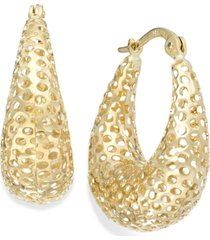 14k gold earrings, diamond-cut mesh puff earrings, 9/10 inch