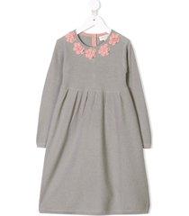 cashmirino cashmere floral applique dress - grey