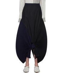 pleat panel knot front bicolour maxi skirt