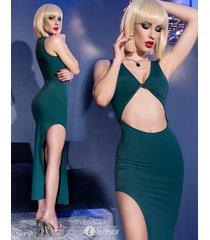 * chilirose groene lange jurk