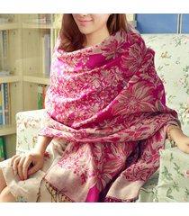 lyza asciugamano da donna con stampa nazionale a vento, autunno, lungo, caldo, nappa, asciugamano