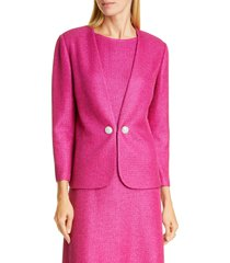 women's st. john evening textured metallic inlay knit jacket