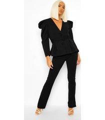 getailleerde strakke broek met zijsplit, black