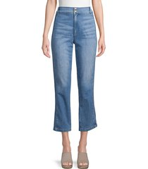 frame denim women's high-waist cropped jeans - leon - size 30 (8-10)