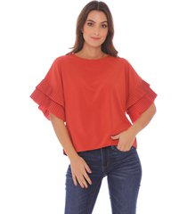 blusa para mujer con mangas plisadas x49585