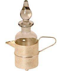 garrafa de vidro decorativa rofnes com suporte de metal