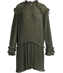 kenzo women's micro-pleated dress - dark khaki - size 36 (4)