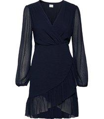 viandrea l/s dress/dc knälång klänning blå vila